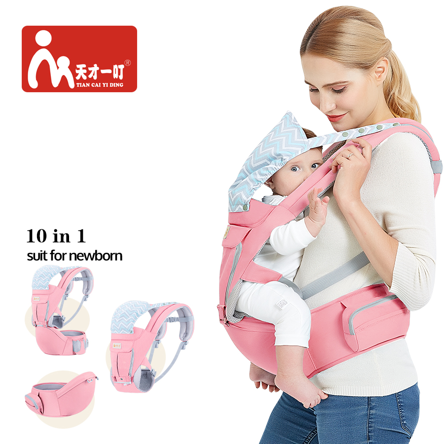 Multifunction Outdoor Kangaroo Baby Carrier With Hood Sling Backpack Infant Hipseat Adjustable Wrap For Carrying Children 0 36 months multifunction outdoor kangaroo baby carrier sling backpack new born baby carriage hipseat sling manduca happybear