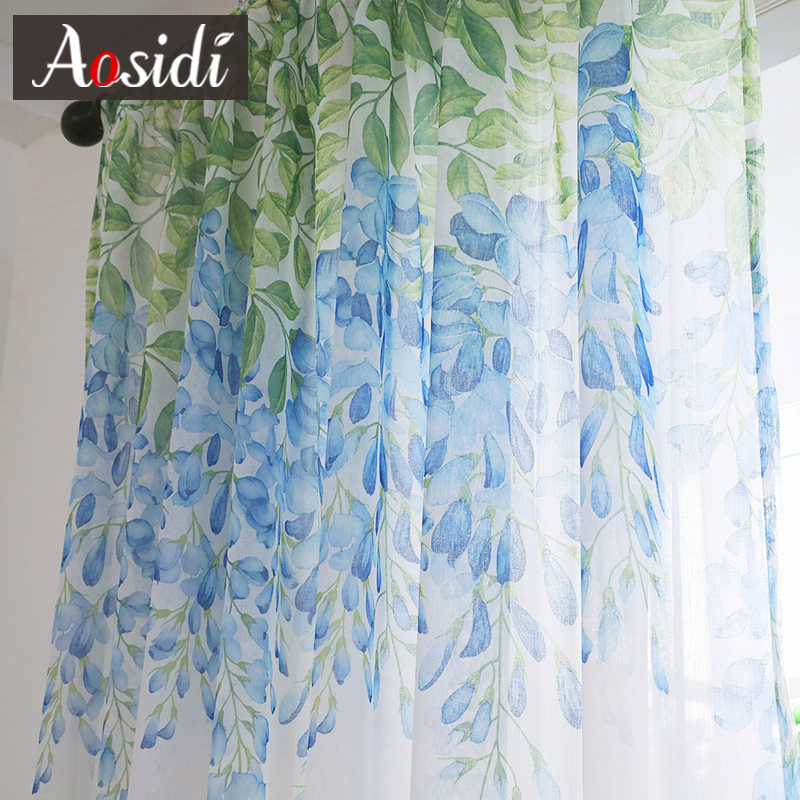 AOSIDI Wisteria Flower Design Home Decor Modern Tulle Curtains For Living Room Bedroom Window Voile Curtains Light Transmission in Curtains from Home Garden