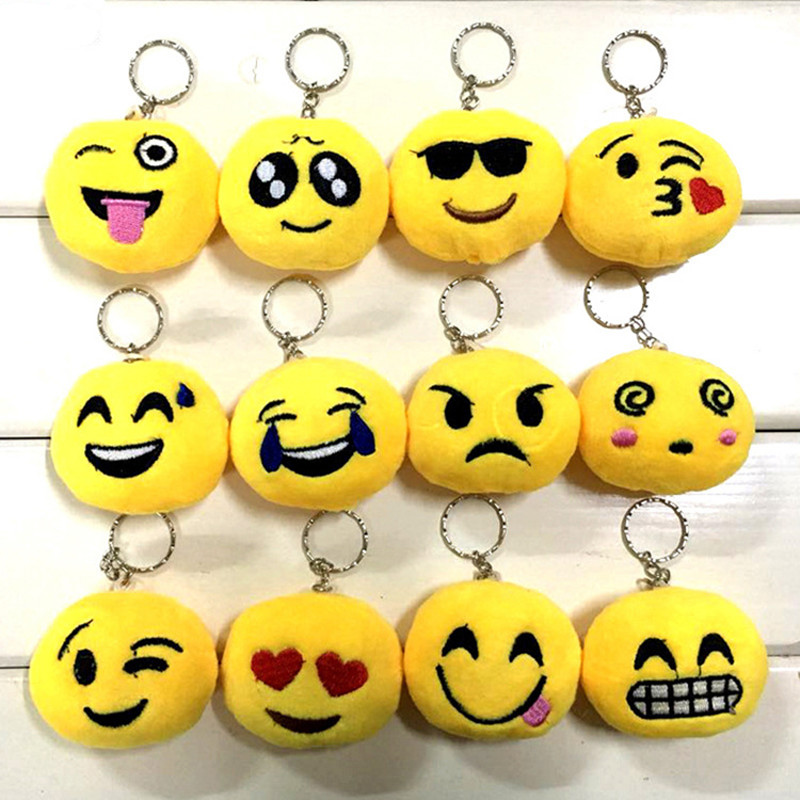 100pcs lot New Mixed Plush Keyring Emoji Keychain Emoticon Key Ring Plush Face Emoji Key Chains