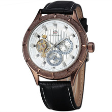 WINNER Classic Luxury Precision Men's Mechanical Wrist Watch Leather Strap Sub Dials Tourbillon W/ Box
