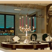 5 Arms Candle Holder Shiny plated Candelabra Decor