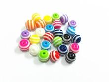 (Elija el Tamaño Primero) 12mm/16mm Mixta Beads Stripe Resina Para Niños Collar y Pulsera Hacer
