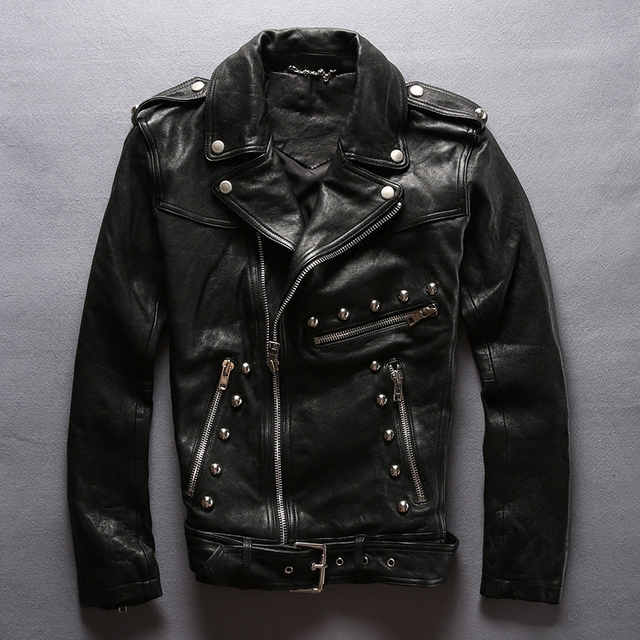 Fashion rivet slim fit leather motorcycle jacket men tight style black sheepskin moto biker jacket for men punk leather coat men in Genuine Leather