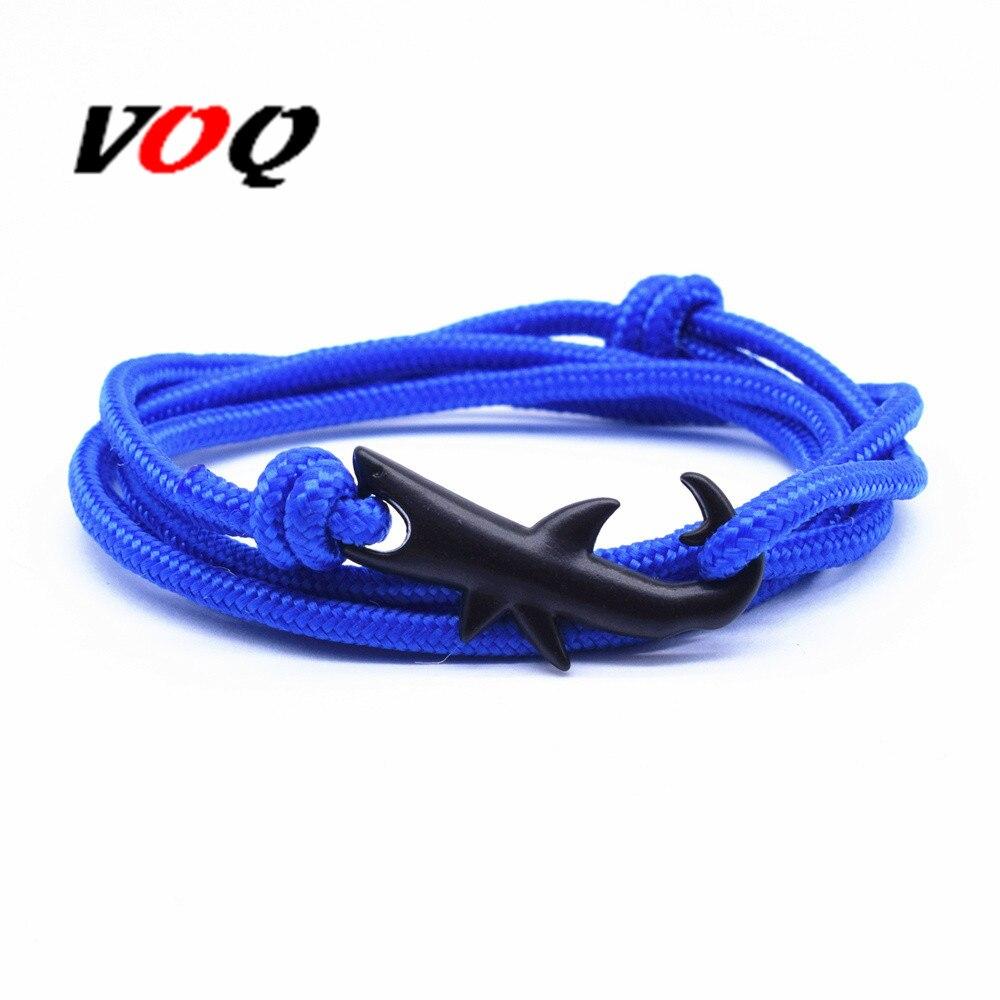 VOQ New Arrival Tom Hope Jewelry Black Ocean Shark Rope Bracelet for Women&Men Shark Bracelet Anchor Bracelet Pulseira Masculina