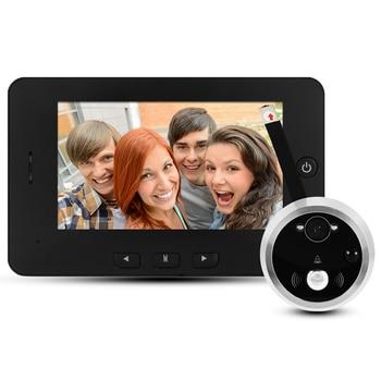 """HD cyfrowy wizjer do drzwi kamera 4.3 """"inteligentny wizjer do drzwi widzenie nocne led Motion Detect szeroki kąt akumulator muzyczny dzwonek do drzwi"""