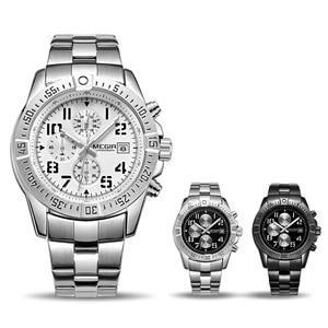 Image 5 - MEGIR Business Men Watch Luxury Brand Stainless Steel Wrist Watch Chronograph Army Military Quartz Watches Relogio Masculino