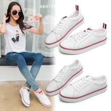 Korean white shoes summer flat strappy leather breathable casual shoes womens students