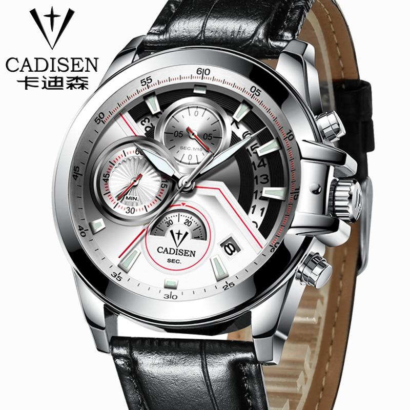ФОТО Cadisen Multifunction Auto Data Sport Military Men's Watches Dive Stainless Steel Men's Army Quartz Watch-Men's leather Watch