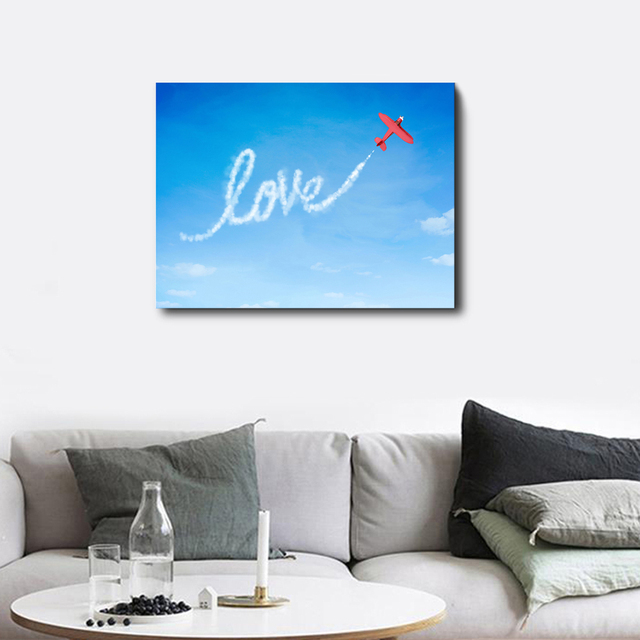 Love Red Plane Posters and Prints Canvas Painting For Wedding Home Living Room Kitchen Decoration Abstract Wall Artwork No Frame
