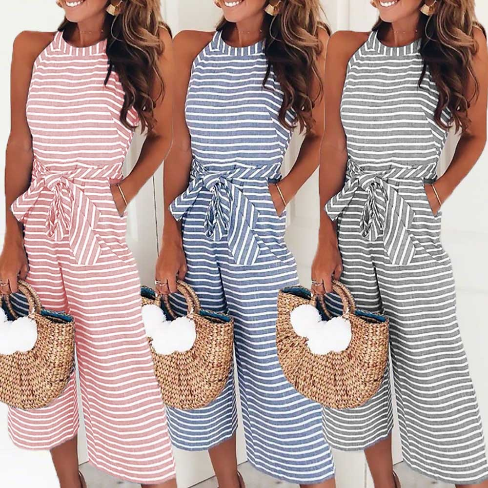 Gold Hands New Women's Fashionable Leotard Catsuit Combinaison Wide Leg Pants Sleeveless Striped   Jumpsuit   Casual Loose Trousers