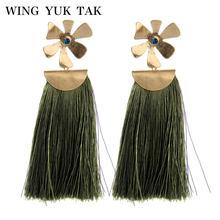 Женские серьги капельки wing yuk tak Длинные Зеленые Винтажные