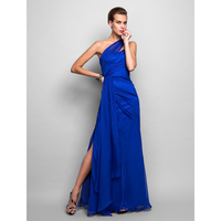 TS Couture Sheath Column One Shoulder Floor Length Chiffon Formal Evening Military Ball Dress with Side Draping