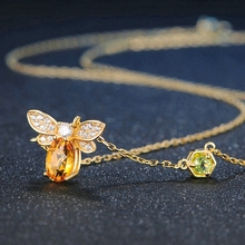 Silikolove Temperament Gold Micro-inlay Bee Necklace Pendant Cubic Zirconia  Zinc Alloy Choker for Women Birthday Party Gifts