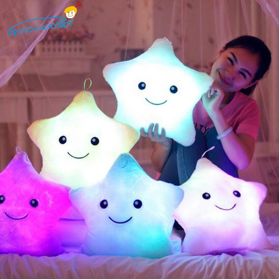 34CM Creative Luminous Stuffed Plush Glowing Toy Stars Pillow Led Light Colorful Cushion Toys Birthday Gift For Kids Children