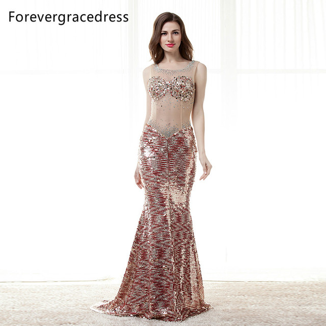 Forevergracedress Sexy Bingbing Prom Dress Gorgeous Sheer Illusion Neck Long  Backless Formal Party Gown Plus Size Custom Made bd68587b33ac