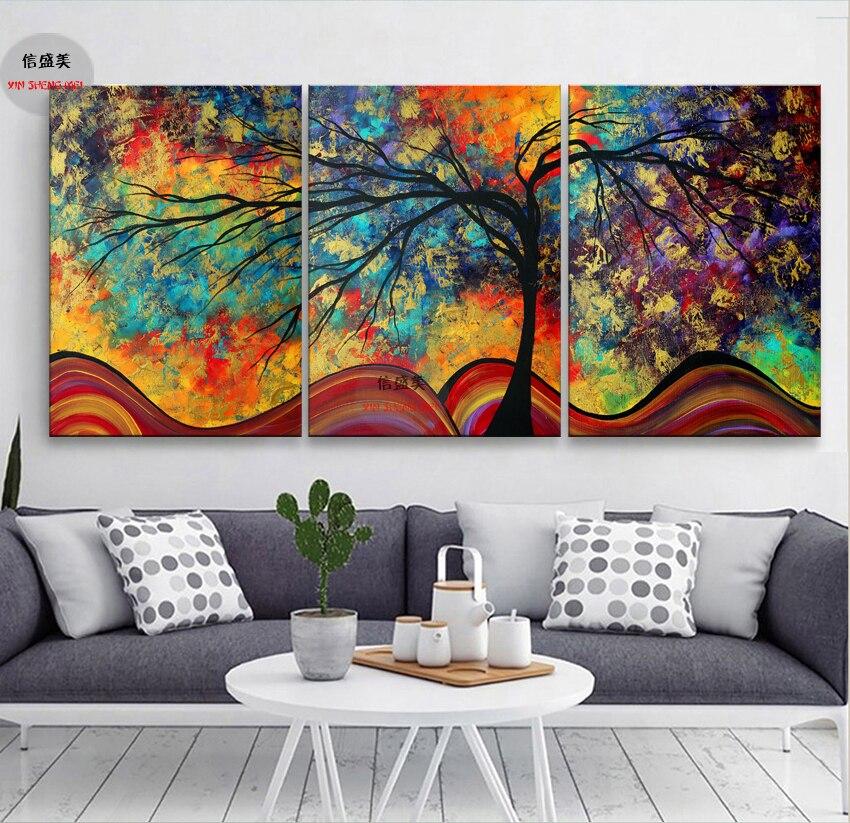 Woondecoratie abstract modern canvas olieverfschilderijen 3 stuk muurschildering op kunst foto's voor woonkamer zonder lijst