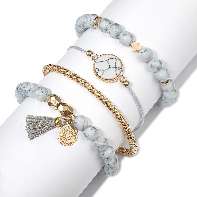Tocona Bohemian Heart Beads Tassel Layered Bracelet Set for Women Handmade Chains Rope Adjustable Bangle Set Anklet 6905 2