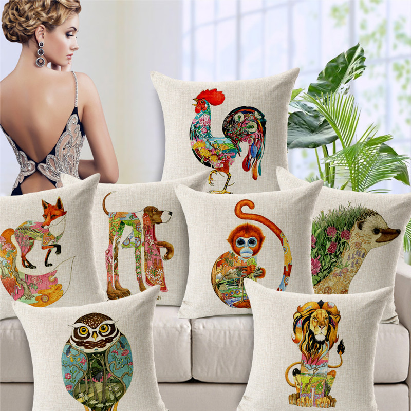 Brightly Colorful Creative Animal cats dog tiger fox cock Square linen cotton throw cushion Decorative pillow bed couch sets