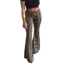 цена на American Clothing Boho Flare Pants Women Long Casual Trousers Tribal Print Wide Leg Pants High Waist Bell Bottom Hippie Pants