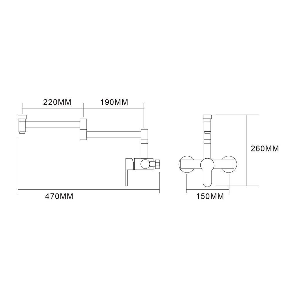 Envío Gratis latón cepillado Nickle montado en la pared 360 grados giratorio plegable Caño cocina grifo mezclador grifo de baño balcón - 6