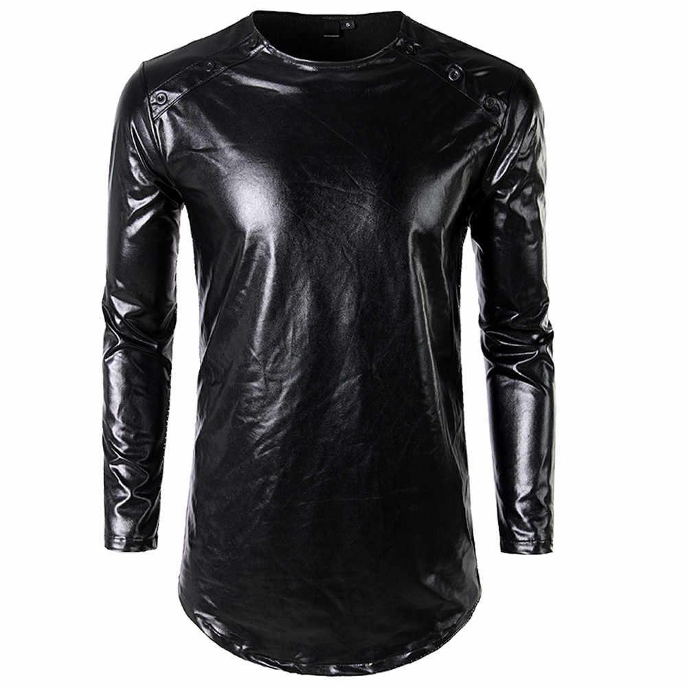 2018 nueva camiseta pintada de cara brillante de moda ropa Casual de personalidad para Hombre Camisetas de manga larga sólidas Color oro plata/PT