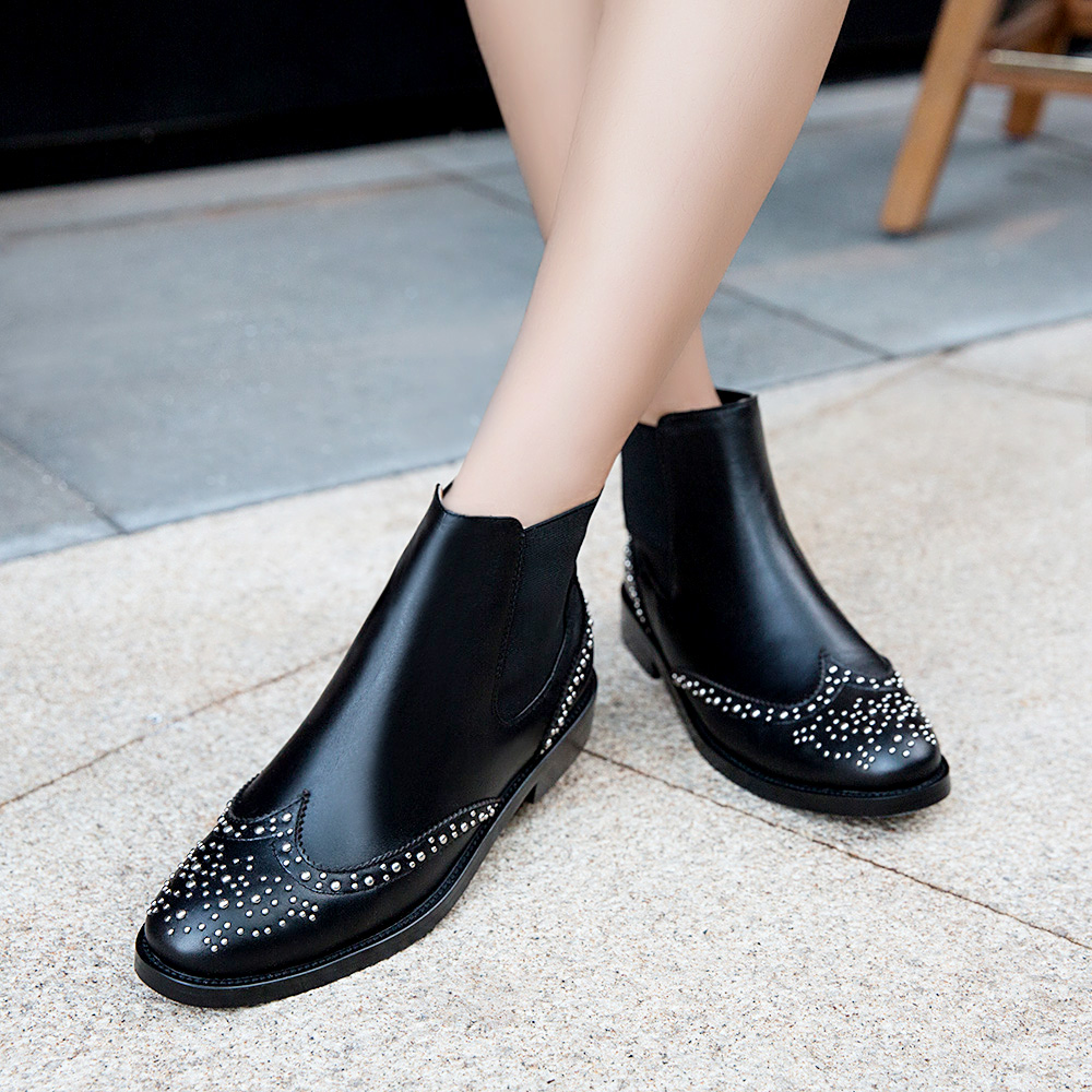 ФОТО AIWEIYi Shoes Woman Autumn Winter Genuine Leather Ankle Boots Slip on Solid Black Booties Women Shoes Zapatillas Mujer