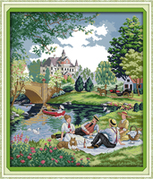 A picnic in the suburbs Counted Cross Stitch 11CT 14CT Cross Stitch Set Wholesale Scenery Cross-stitch Kit Embroidery Needlework