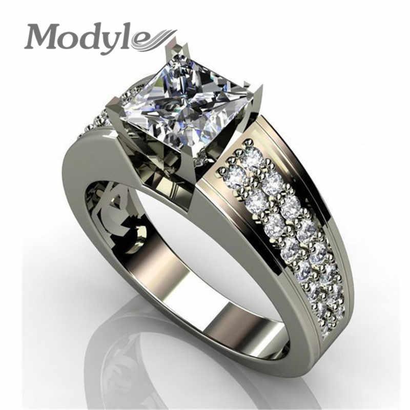 Новинка 2019, роскошное Брендовое серебряное кольцо с большим квадратным блестящим фианитом, обручальное кольцо для мужчин, оптовая продажа
