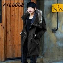 AILOOGE 2017 Size M-3XL New Men's Long Autumn Faux Fur Collar Cotton Jacket Coat Parkas For Men Autumn,2 Colors