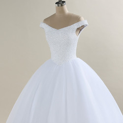 QQ Lover 2019 New Bling Bling Ball Gown Wedding Dress Off the Shoulder Bridal Wedding Gowns 5