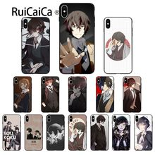 Ruicaica Japan anime bungou stray dogs Dazai Osamu Soft Black Phone Case for iPhone 6S 6plus 7 7plus 8 8Plus X Xs MAX 5 5S XR