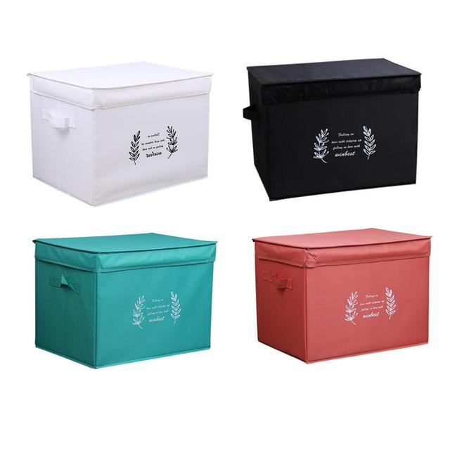Large Folding Printed Leaves Waterproof Storage Box 4 Color Home Folding  Toys Clothes Sundries Storage Organizer