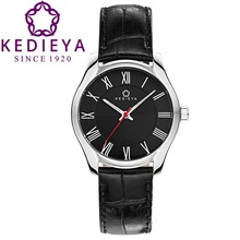 KEDIEYA Brand Women Watch Quartz-Watch Dress Clock Gift for Mothers Girlfriend Vintage Roman Dial Black Leather Ladies Watch