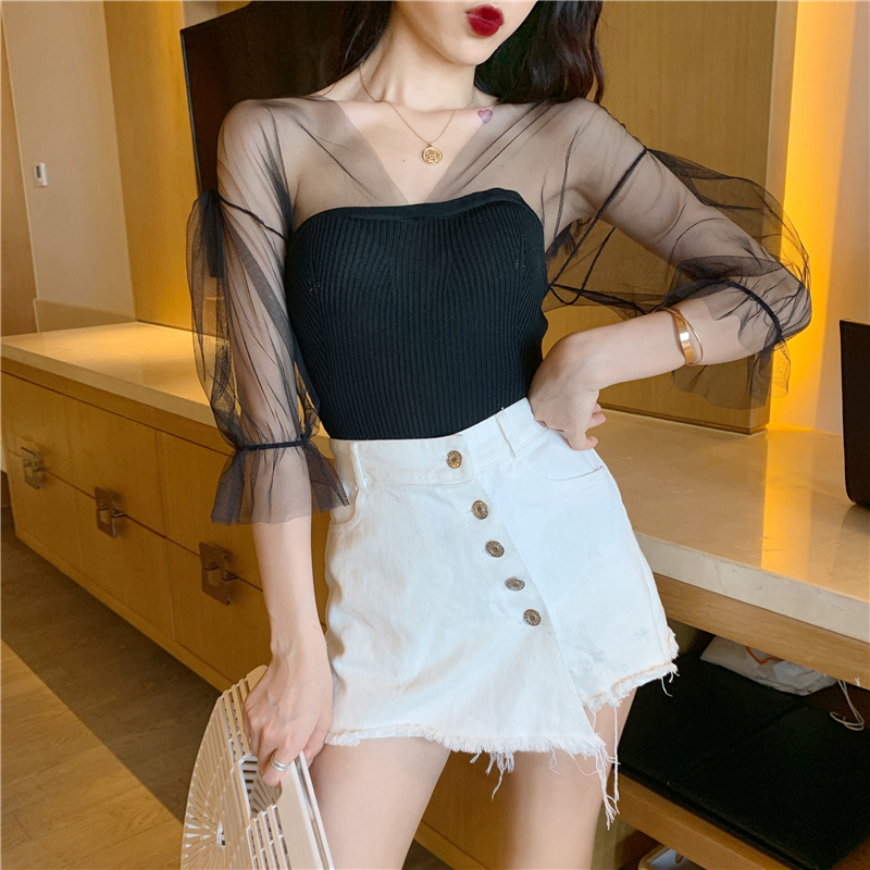Real Photos Patchwork Mesh Knitted T shirt Girls V neck Short Sleeve Sexy Stretchy Knit Tshirts Tops For Female DX9368 in T Shirts from Women 39 s Clothing