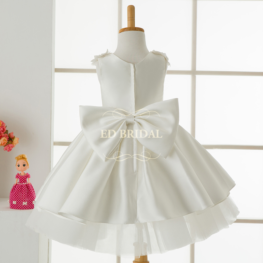 89f5d05f31 Ball Gown Puffy Satin Tiered Flower Girl Dresses with Sequin Lace Appliques  Kids Evening Gowns Children Graduation Gowns