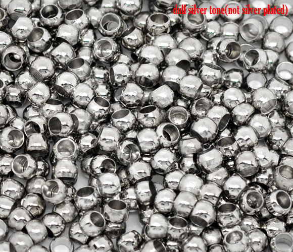 Copper Crimp Beads Round Silver Tone 2mm 3.5mm( 1/8