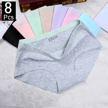 8Pcs Briefs for Women fashion sexy woman panties Solid seamless underpants  cpanties for women cotton underwear girl knickers 1