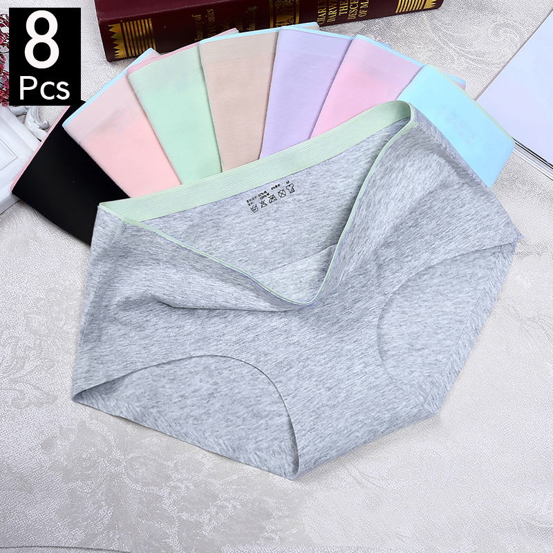 1/8Pcs Briefs For Women Fashion Sexy Woman Panties Solid Seamless Panties Mid-Rise Cpanties For Women Cotton Sexy Underwear Girl