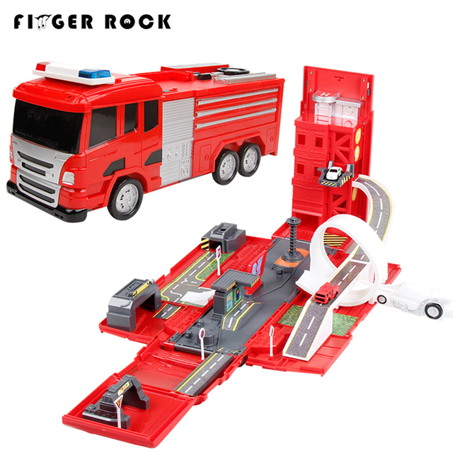 Finger Rock Deluxe Fire Engine Truck With Music Deformation Alloy Track Car Toy Educational Railway Road Car Set For Children