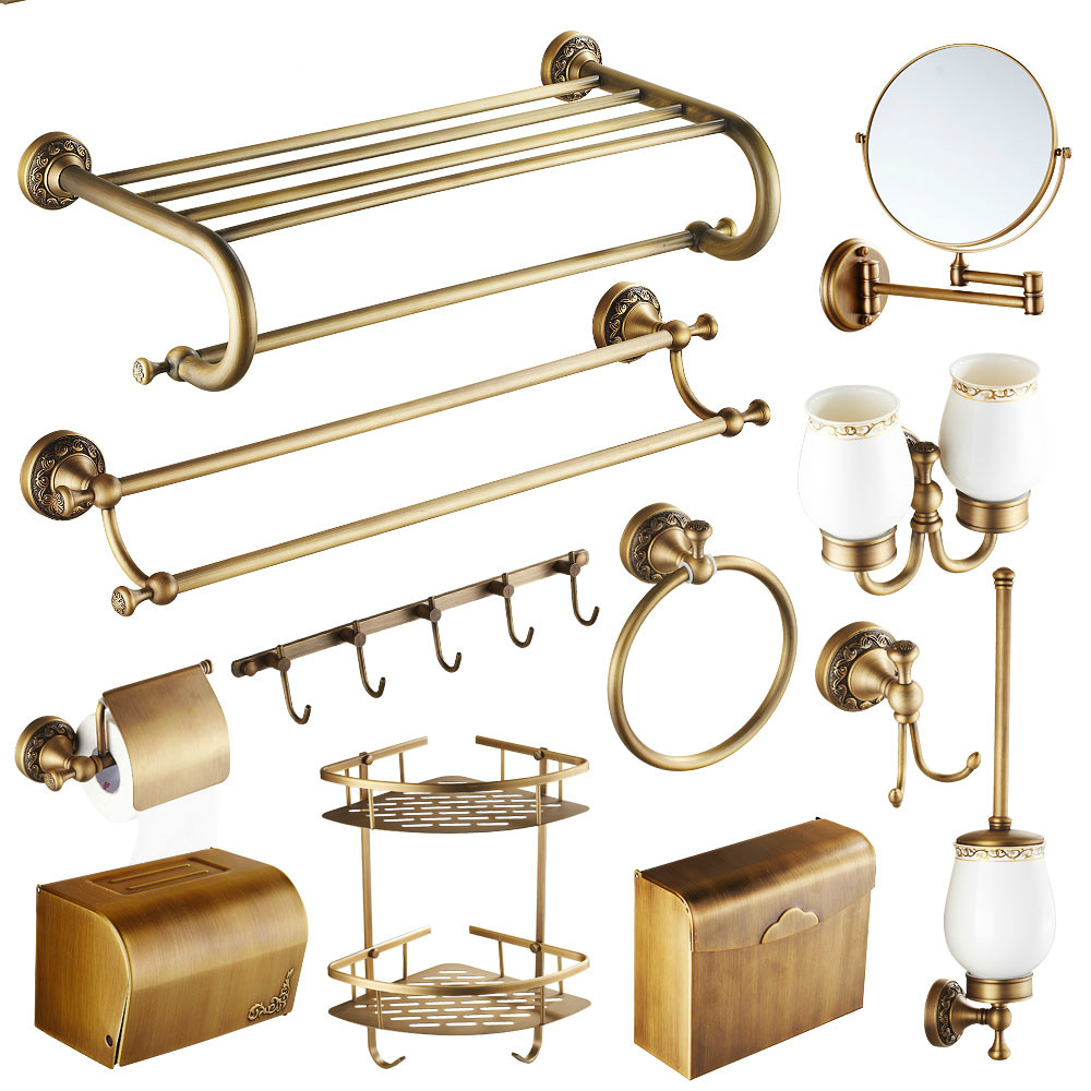 Brass bathroom accessories sets - Antique Brass Carved Bathroom Hardware Sets European Bronze Brushed Bathroom Accessories Solid Brass Carved Bathroom Product Gy5