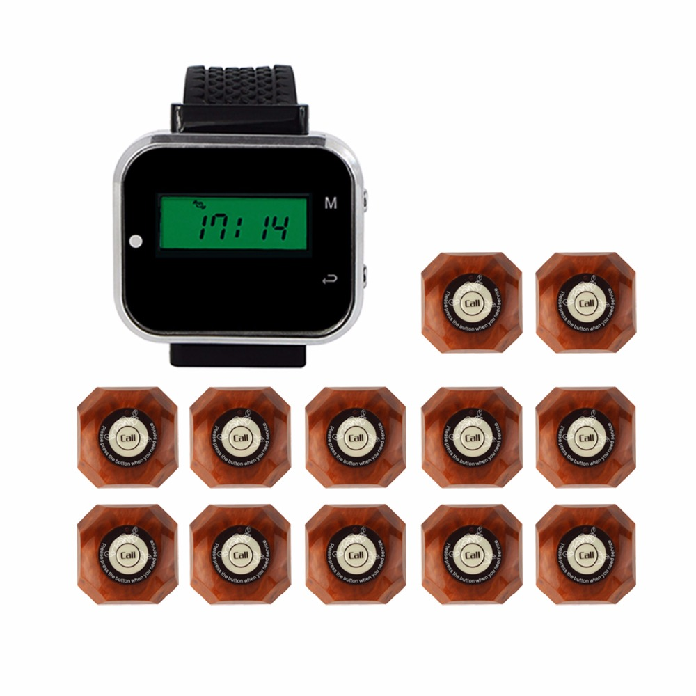433MHz Wireless Pager Calling System Restaurant Equipment For Factory Coffee Watch Wrist Receiver + 12pcs Call Button F3300A 999ch restaurant pager wireless calling system 35pcs call transmitter button 4 watch receiver 433mhz catering equipment f3285c