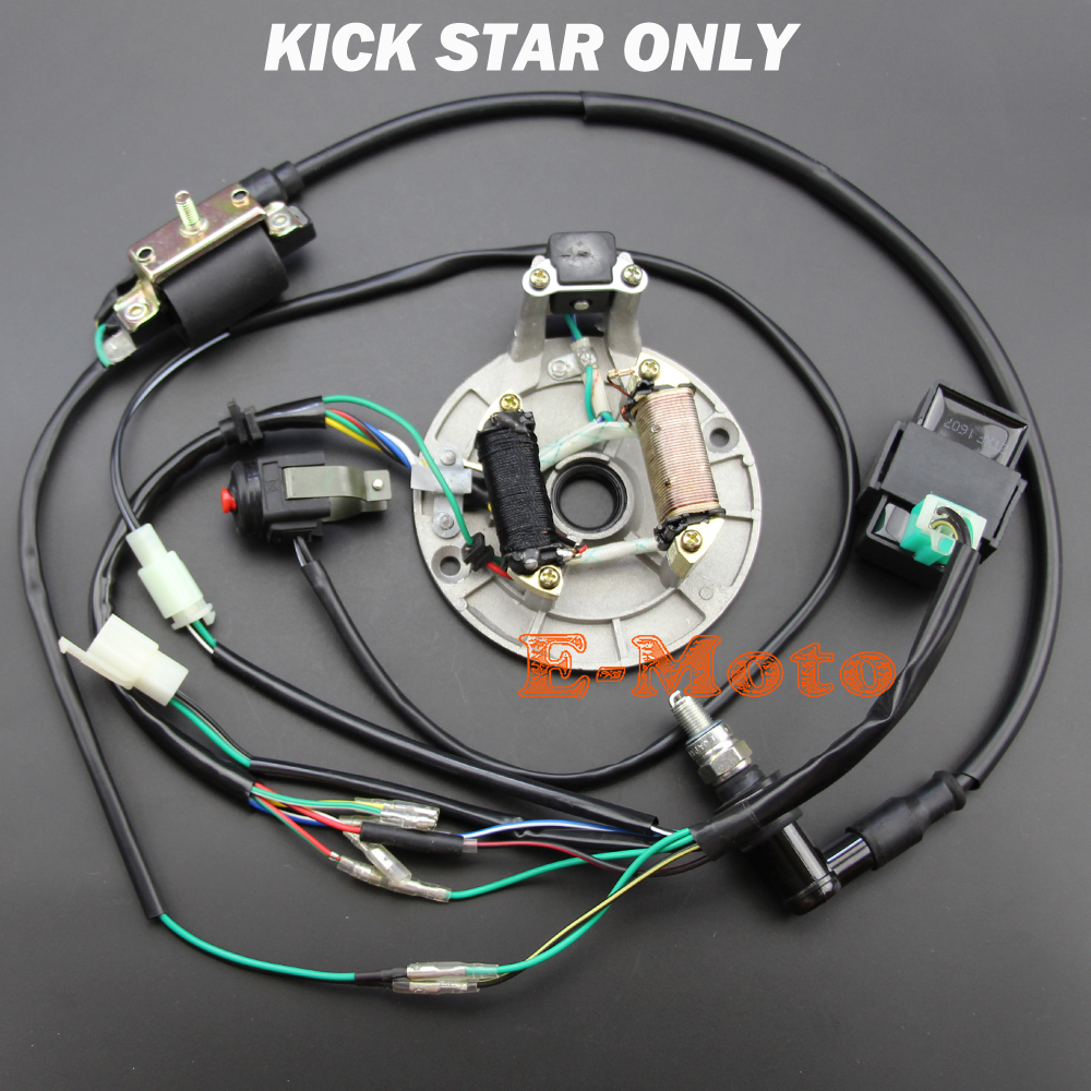 Full Wiring Harness Loom Ignition Coil Regulator CDI Kill Switch C7HSA Spark Plug 150cc 200cc