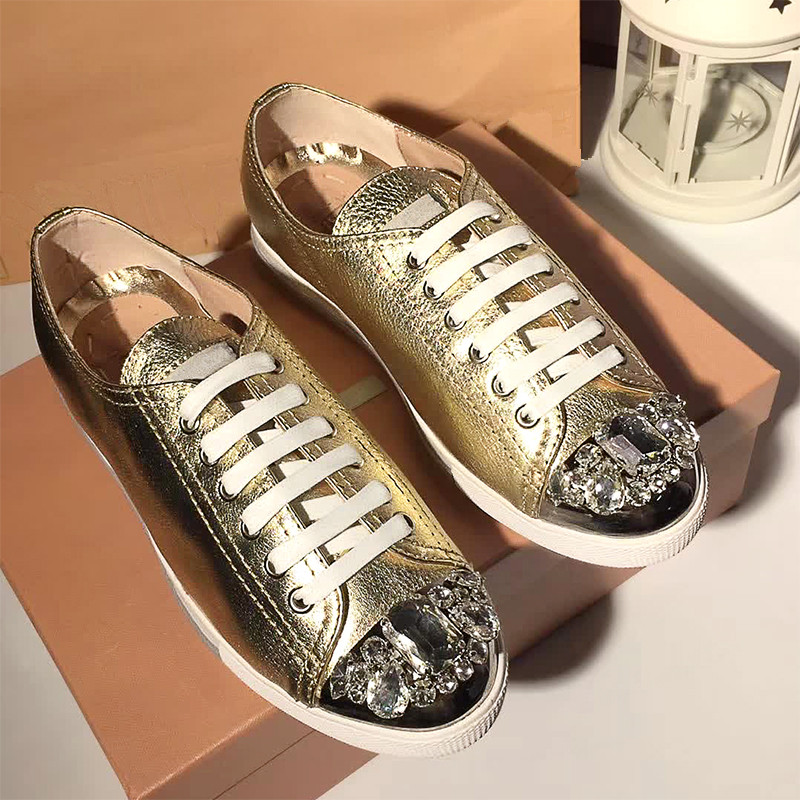 Bling Crystal Embellished Woman Sneakers Sapato Feminino Lace Up Women Flats Low Top Gold Silver Leather Shoes Zapatillas Mujer