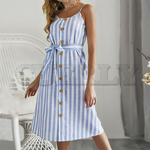 CUERLY Elegant stripe print women summer sundress Sexy spaghetti strap dress Button Sashes female maxi long vestidos 2019