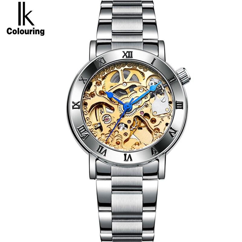 IK Women Tourbillon Automatic Self Wind Mechanical font b Watch b font Luxury Fashion Brand font