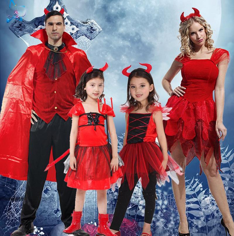 envo libre nio de la muchacha hombres adultos trajes de disfraces de halloween demonio diablo