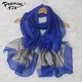 Primavera Verano Nuevas Mujeres Bufanda Chal Blanco Y Azul Chino Chal de Gasa Bufanda de Seda de las mujeres Elegantes Bufandas Tamaño 70x190 cm
