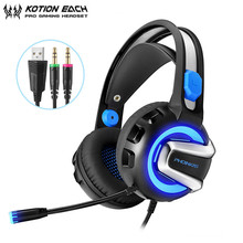 цена на KOTION EACH H4 PS4 Headset Gaming Headphones Stereo Bass Casque with Mic LED Light Noise Cancelling for xbox One PC Gamer Laptop