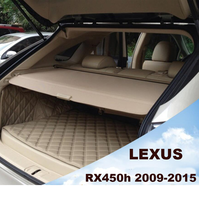 Car Rear Trunk Security Shield Cargo Cover For LEXUS RX450h 2009-2015 PARCEL SHELF SHADE TRUNK LINER SCREEN RETRACTABLE car rear trunk security shield shade cargo cover for toyota highlander 2009 2010 2011 2012 2013 2014 2015 2016 2017 black beige