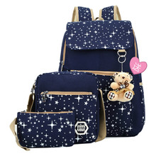 3Pcs Set Backpacks Korean Women Backpack Canvas Printing Preppy Style School Bag for Teenage Girls Backpack